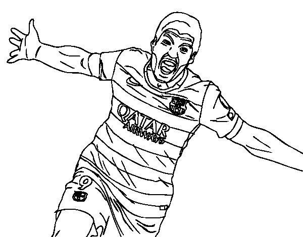 Desenho de  Suárez comemorando um gol  para Colorir