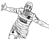 Desenho de  Suárez comemorando um gol  para colorear