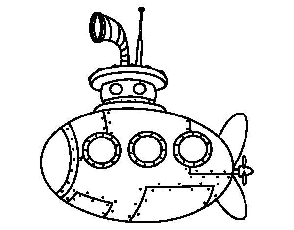 Desenho de Submarino clássico para Colorir