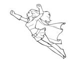 Desenho de Super girl voador para colorear
