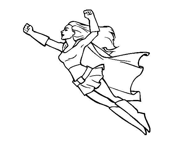 Desenho De Super Girl Voador Para Colorir