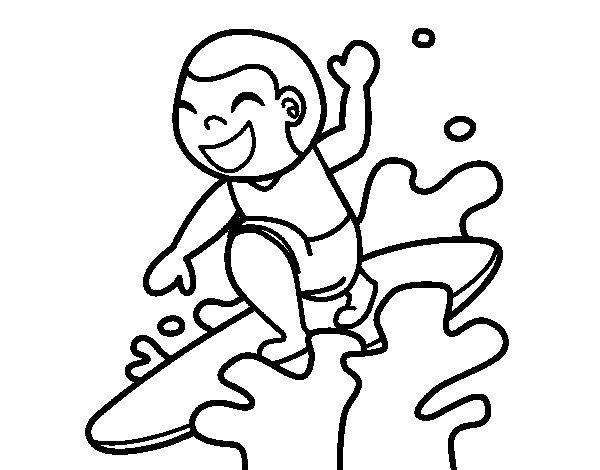 Desenho de Surf para Colorir