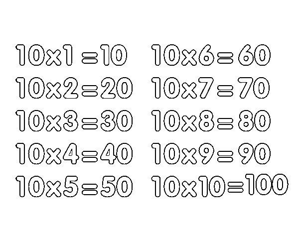 Desenho de Tabuada de Multiplicação do 10 para Colorir