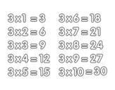 Desenho de Tabuada de Multiplicação do 3 para colorear