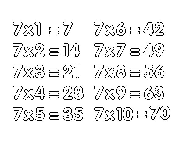 Desenho de Tabuada de Multiplicação do 7 para Colorir