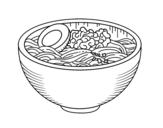 Desenho de Taça com ramen para colorear