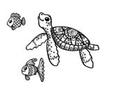 Desenho de Tartaruga de mar com peixes para colorear