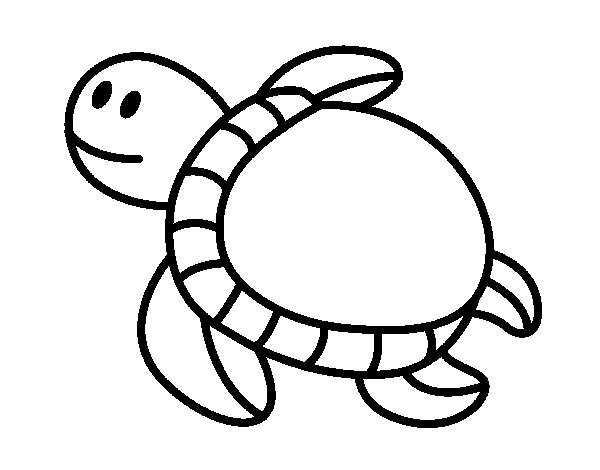 Desenho De Tartaruga Nadando Para Colorir