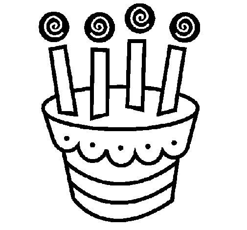 Desenho de Tarte com velas para Colorir