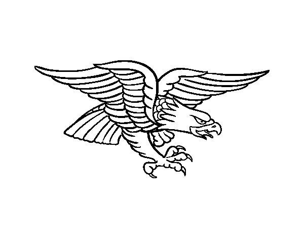 Desenho de Tatuagem de águia para Colorir