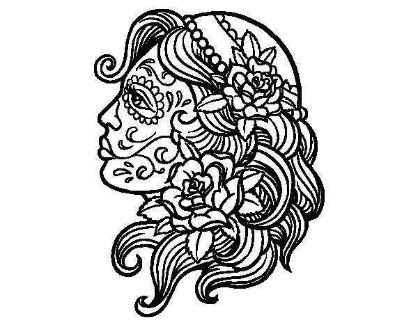 Desenho de Tatuagem de Catrina para Colorir
