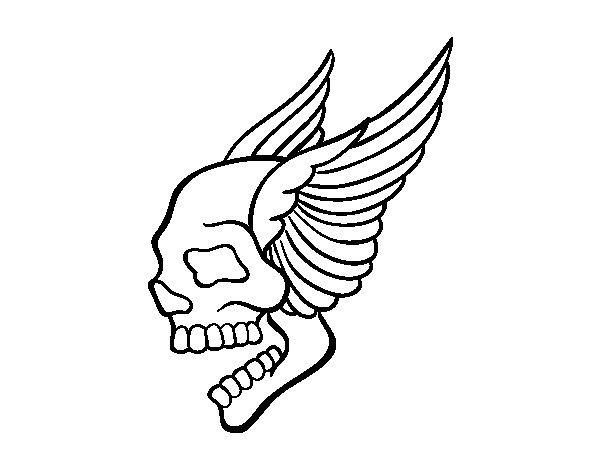 Desenho de Tatuagem de caveira com asas para Colorir