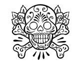 Desenho de Tatuagem de caveira para colorear