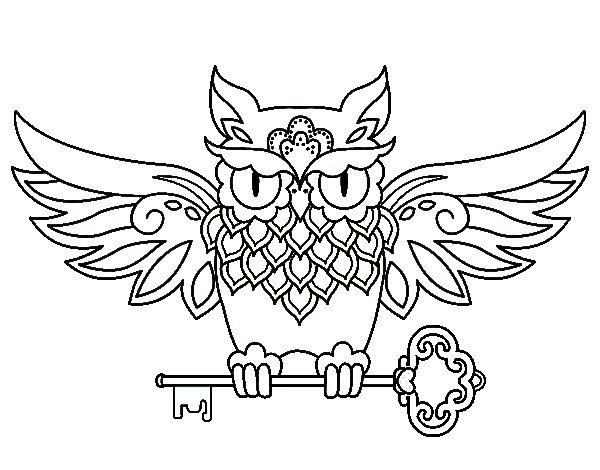 Desenho de Tatuagem de coruja com chave para Colorir