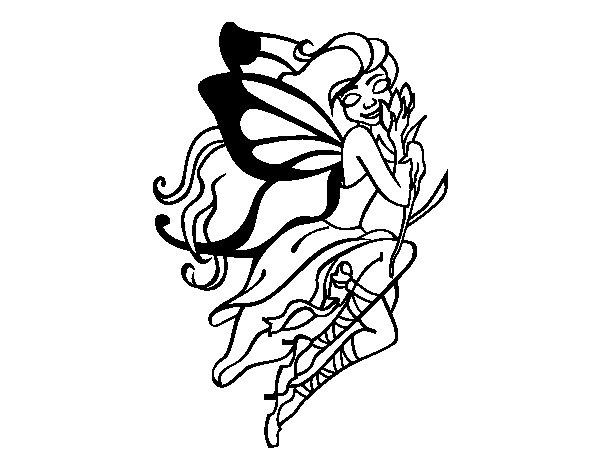 Desenho de Tatuagem de fada para Colorir