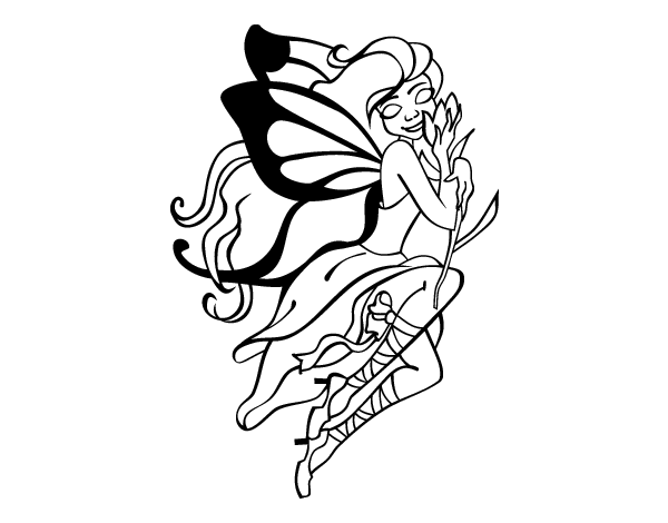 Desenho de tatuagem de fada para colorir - Dibujos de hadas infantiles para imprimir ...