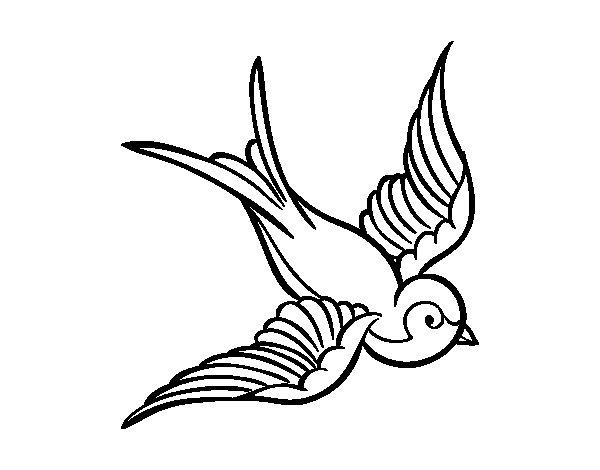 Desenho de Tatuagem de pássaro para Colorir