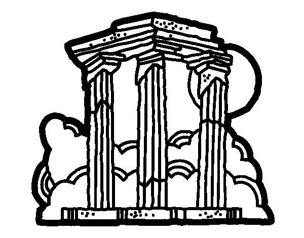 Desenho de Templo de Zeus Olímpico para Colorir