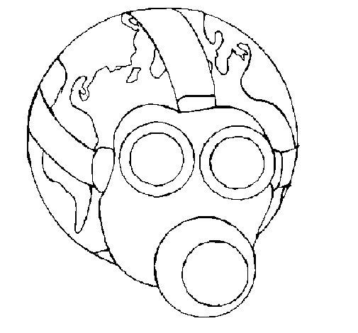 Desenho de Terra com máscara de gás para Colorir