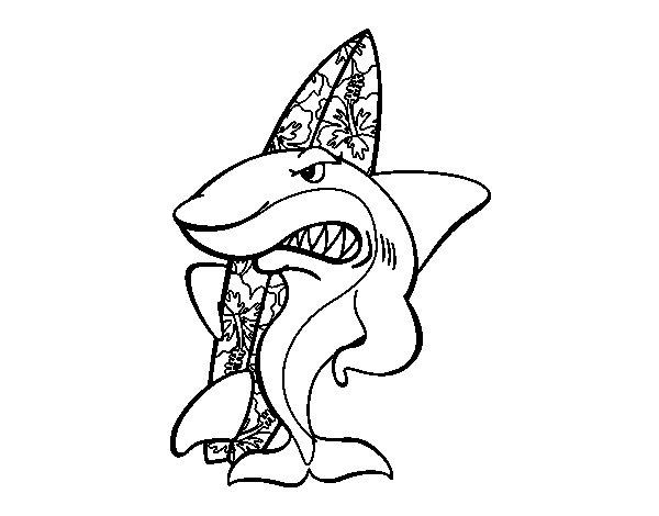 Desenho de Tiburão surfista para Colorir