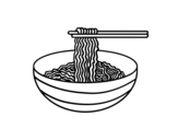 Desenho de Tigela de macarrão para colorear