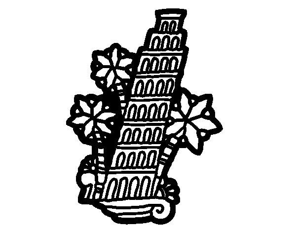 Desenho de Torre de Pisa para Colorir