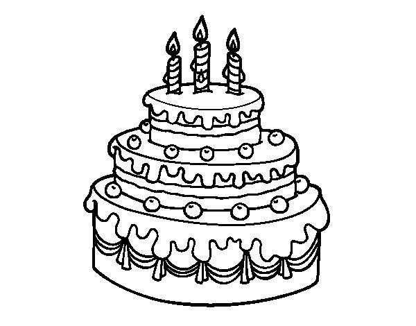 Desenho de Torta de Aniversário para Colorir