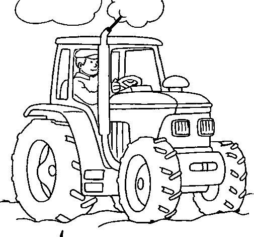 Desenho de Tractor em funcionamento para Colorir