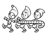 Desenho de  Três duendes de Natal para colorear