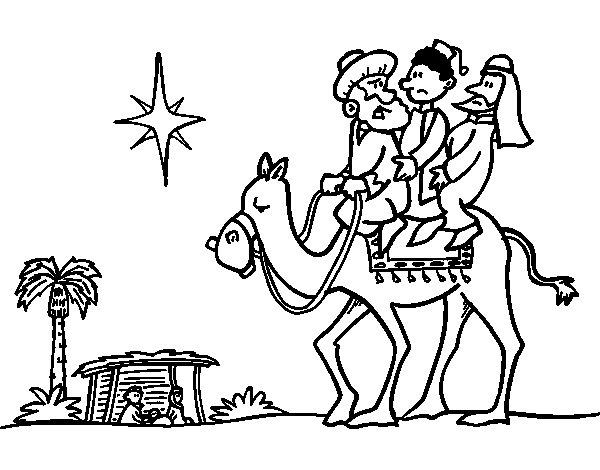 Desenho de Três Reis Magos para Colorir