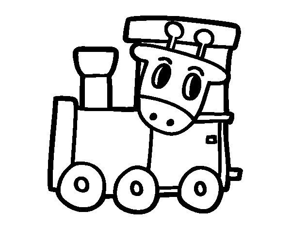 Desenho de Trem com girafa para Colorir