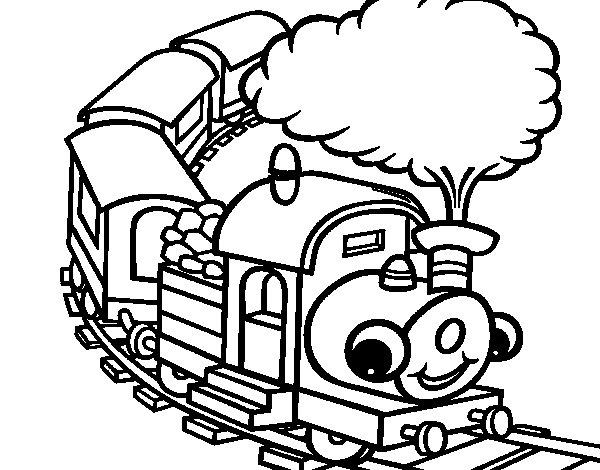 Desenho de Trem sorridente para Colorir