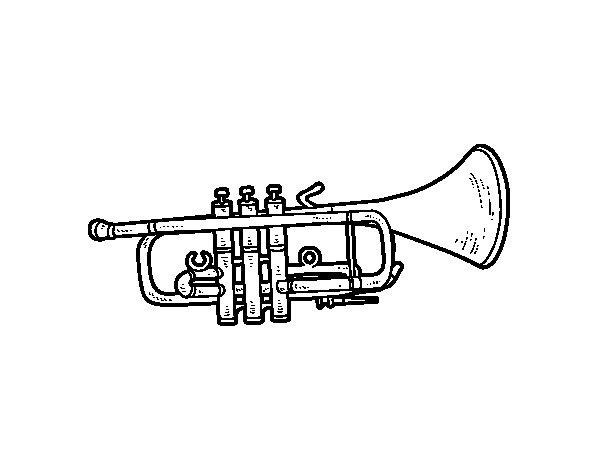 Desenho de Trompete baixa para Colorir
