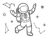 Desenho de Um astronauta no espaço da estrela para colorear