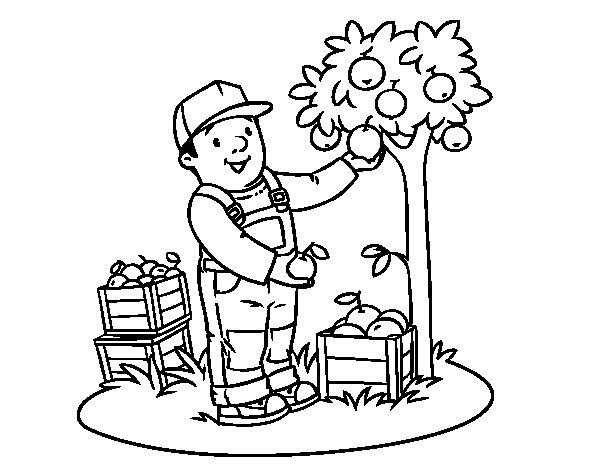 Desenho de Um fazendeiro para Colorir