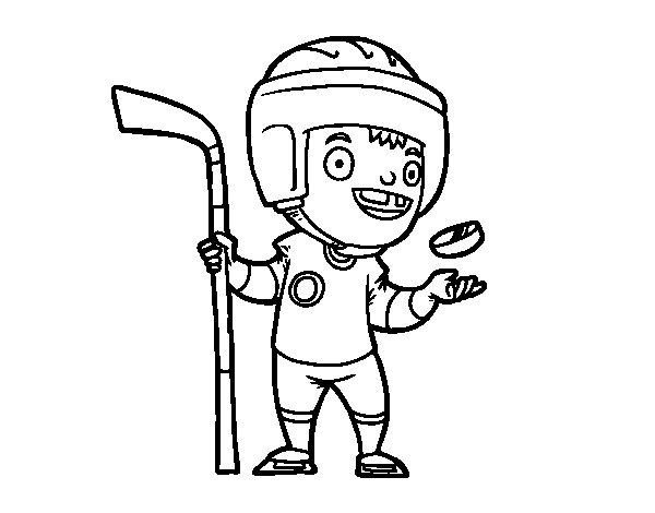 Desenho de Um jogador de hoquei no gelo para Colorir