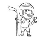 Dibujo de Um jogador de hoquei no gelo