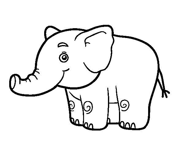 Desenho de Um pequeno elefante para Colorir