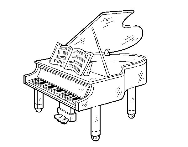 Desenho de um piano de cauda aberto para colorir for Apri le foto del piano
