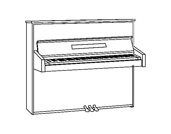 Desenho de Um piano vertical para Colorir