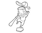Desenho de Um rebatedor de beisebol para colorear