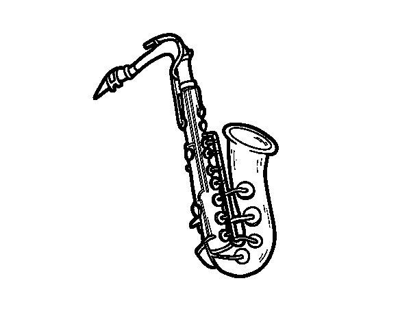 Desenho de Um saxofone tenor para Colorir