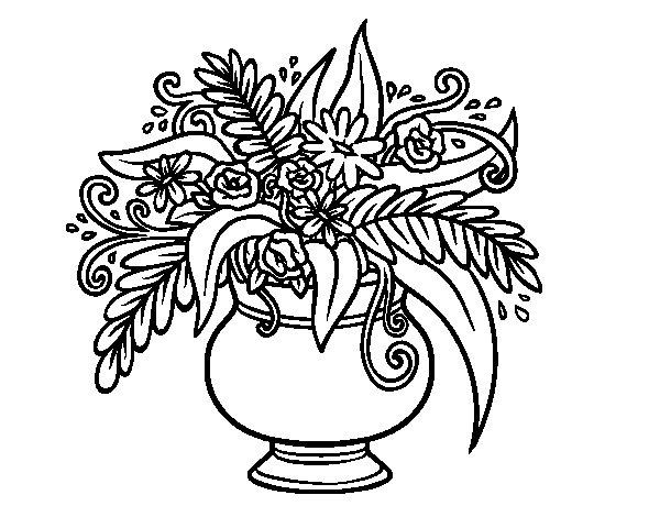 Desenho de Um vaso com flores para Colorir