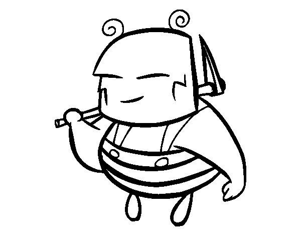 Desenho de Uma abelha de trabalhador para Colorir