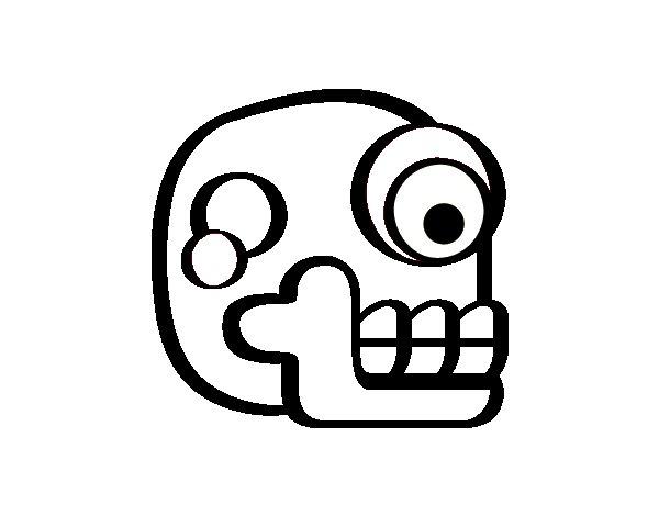 Desenho de Uma caveira asteca para Colorir