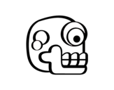 Desenho de Uma caveira asteca para colorear