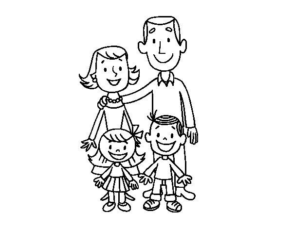 Desenho de Uma família para Colorir