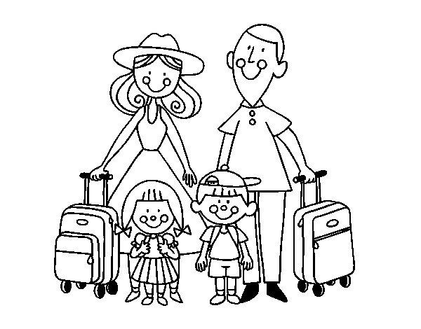 Desenho de Uma família de férias para Colorir