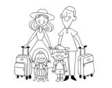 Desenho de Uma família de férias para colorear