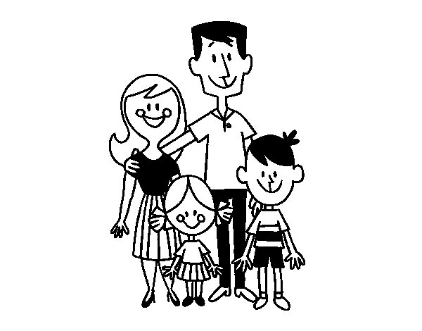 Desenho De Uma Família Feliz Para Colorir